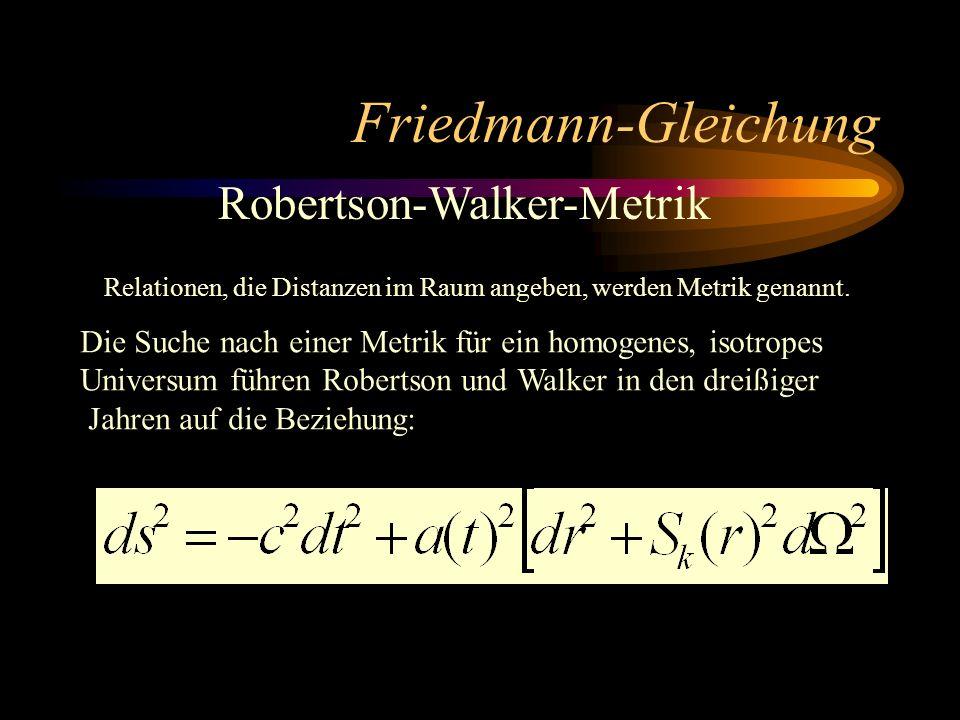 Friedmann-Gleichung Robertson-Walker-Metrik Relationen, die Distanzen im Raum angeben, werden Metrik genannt. Die Suche nach einer Metrik für ein homo
