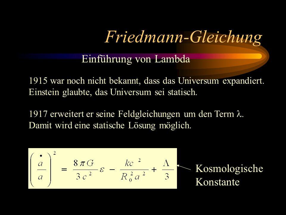Friedmann-Gleichung Einführung von Lambda 1915 war noch nicht bekannt, dass das Universum expandiert. Einstein glaubte, das Universum sei statisch. 19