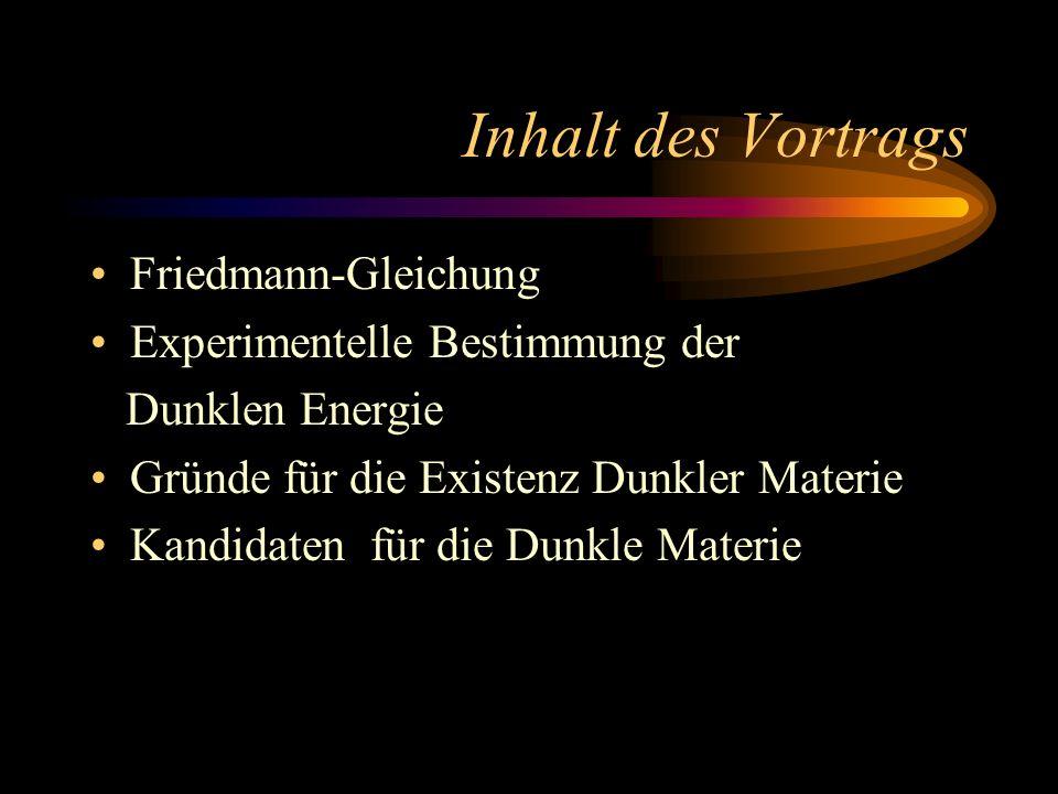 Inhalt des Vortrags Friedmann-Gleichung Experimentelle Bestimmung der Dunklen Energie Gründe für die Existenz Dunkler Materie Kandidaten für die Dunkl