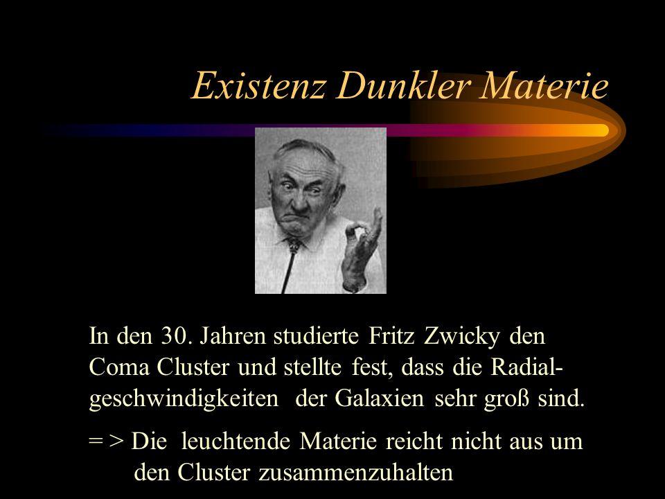 Existenz Dunkler Materie In den 30. Jahren studierte Fritz Zwicky den Coma Cluster und stellte fest, dass die Radial- geschwindigkeiten der Galaxien s