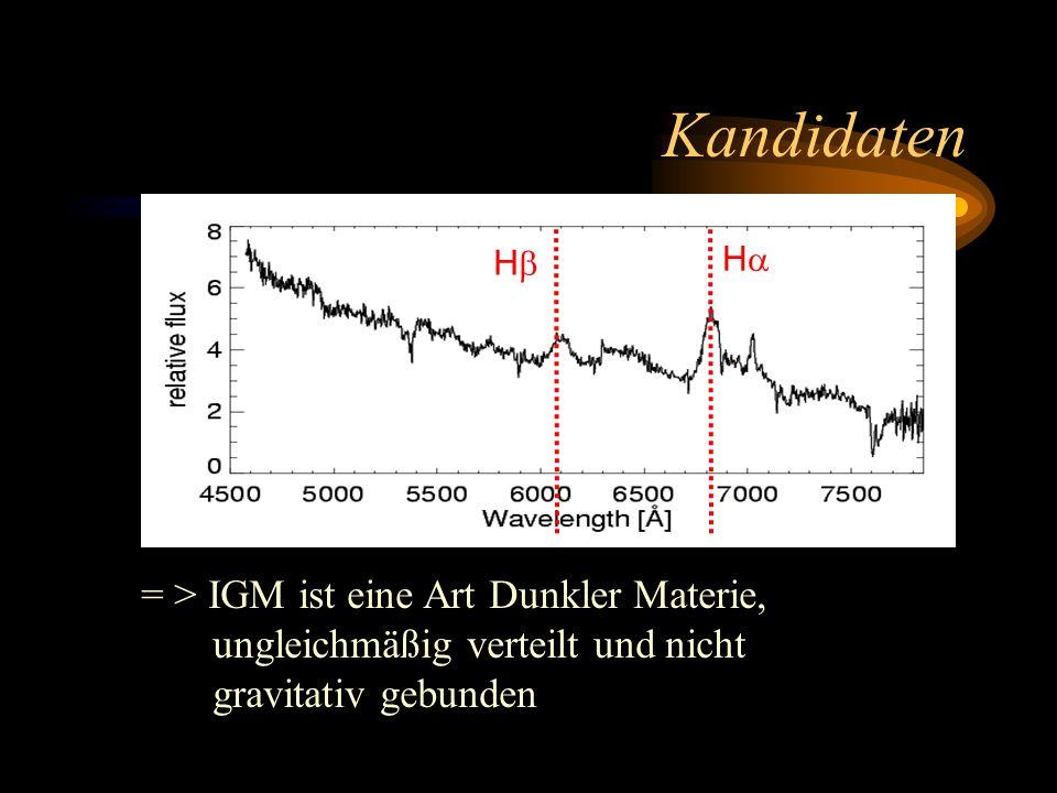 Kandidaten H H = > IGM ist eine Art Dunkler Materie, ungleichmäßig verteilt und nicht gravitativ gebunden
