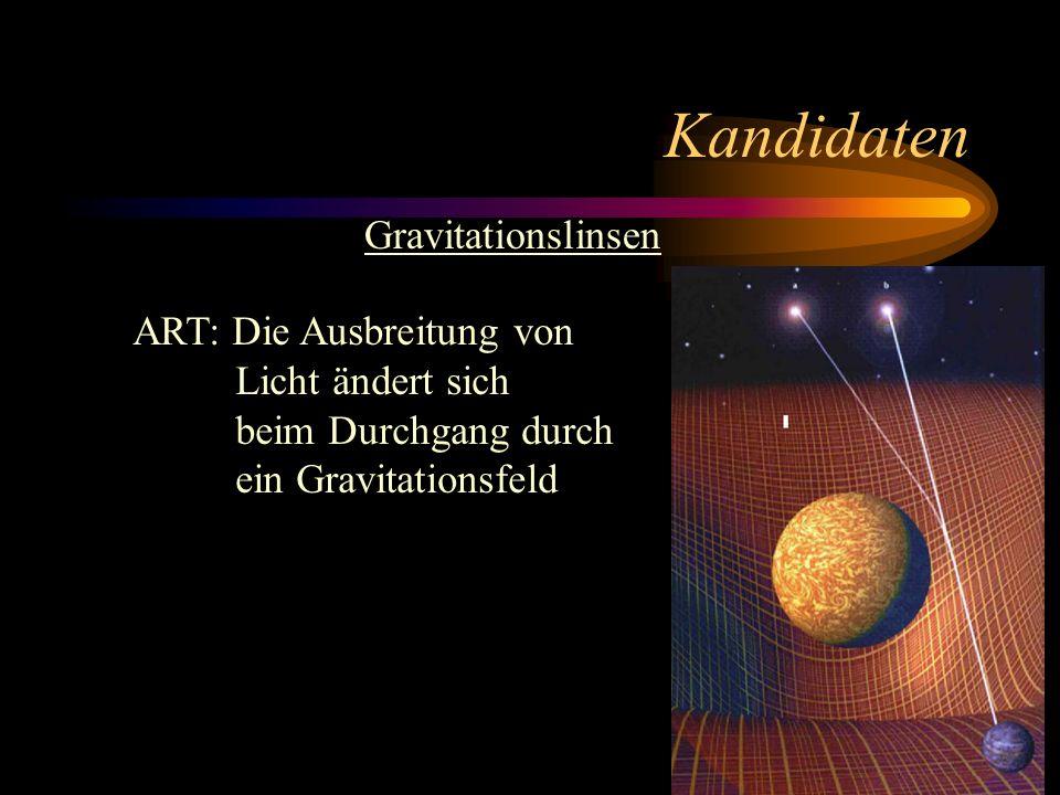 Kandidaten Gravitationslinsen ART: Die Ausbreitung von Licht ändert sich beim Durchgang durch ein Gravitationsfeld
