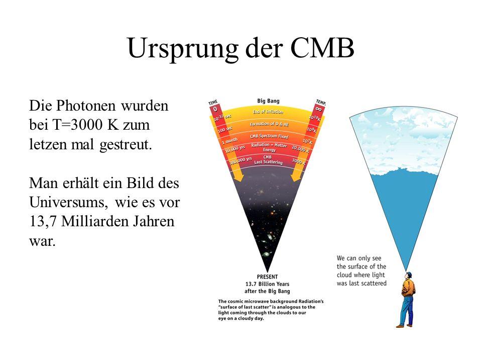 Ursprung der CMB Die Photonen wurden bei T=3000 K zum letzen mal gestreut. Man erhält ein Bild des Universums, wie es vor 13,7 Milliarden Jahren war.