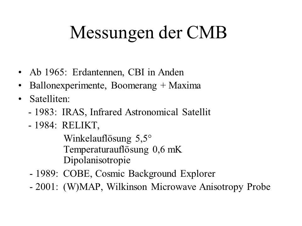 Messungen der CMB Ab 1965: Erdantennen, CBI in Anden Ballonexperimente, Boomerang + Maxima Satelliten: - 1983: IRAS, Infrared Astronomical Satellit -