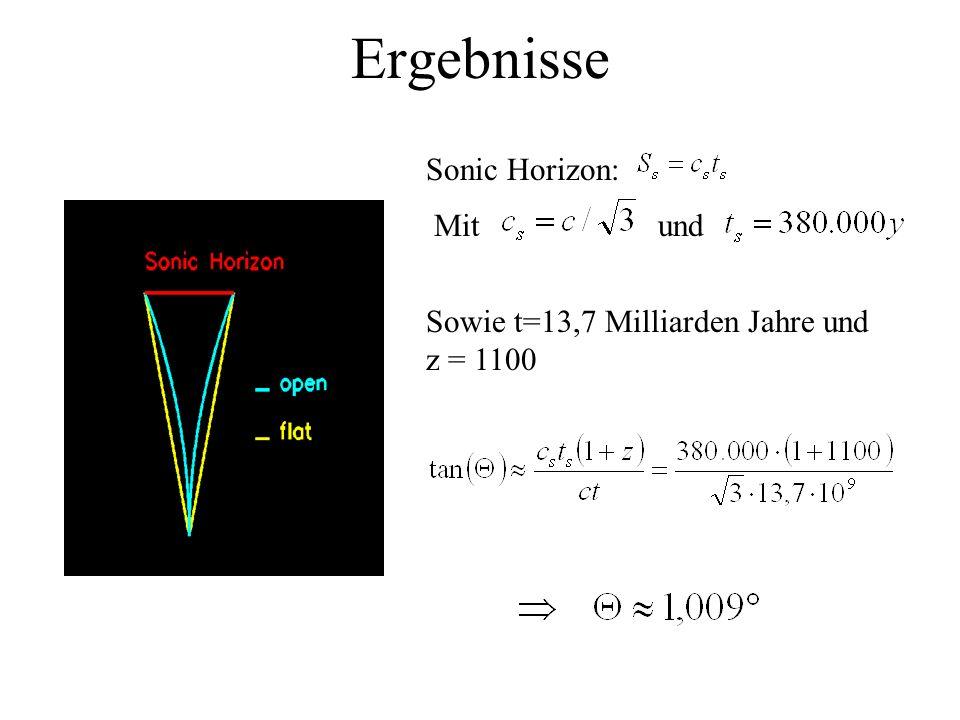 Ergebnisse Sonic Horizon: Mit und Sowie t=13,7 Milliarden Jahre und z = 1100