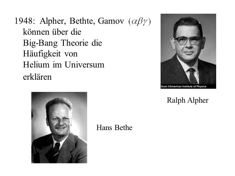 1948: Alpher, Herman berechnen eine 5K Hintergrundstrahlung Robert Dicke 1964: Dicke + Peebles berechnen eine 10K Hintergrundstrahlung Robert Herman