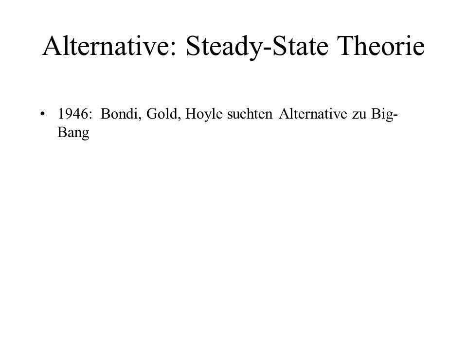 Alternative: Steady-State Theorie 1946: Bondi, Gold, Hoyle suchten Alternative zu Big- Bang 1948: Steady-State Universum: - bleibt für alle Zeiten gleich - gibt kein Anfang und keine Ende - konstante Anzahl von Materie wird geschaffen: ein paar H-Atome pro m³ + 10 Milliarden Jahre