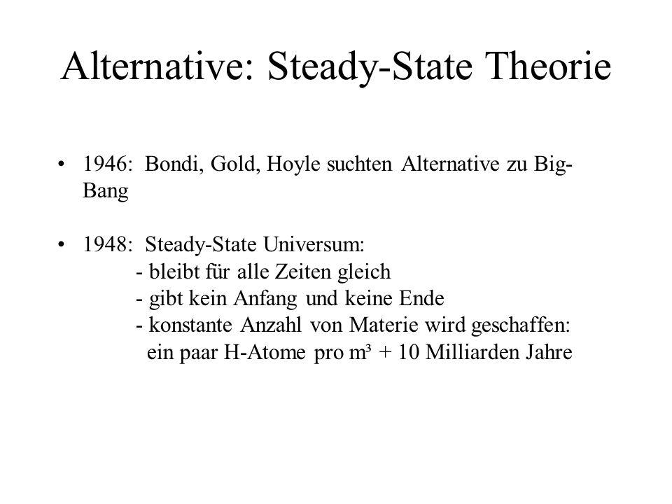 Alternative: Steady-State Theorie 1946: Bondi, Gold, Hoyle suchten Alternative zu Big- Bang 1948: Steady-State Universum: - bleibt für alle Zeiten gleich - gibt kein Anfang und keine Ende - konstante Anzahl von Materie wird geschaffen: ein paar H-Atome pro m³ + 10 Milliarden Jahre Steady-State Theorie konnte die Heliumhäufigkeit im Universum nicht klären