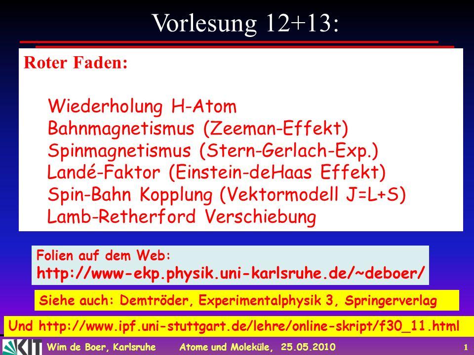 Wim de Boer, Karlsruhe Atome und Moleküle, 25.05.2010 1 Vorlesung 12+13: Roter Faden: Wiederholung H-Atom Bahnmagnetismus (Zeeman-Effekt) Spinmagnetis