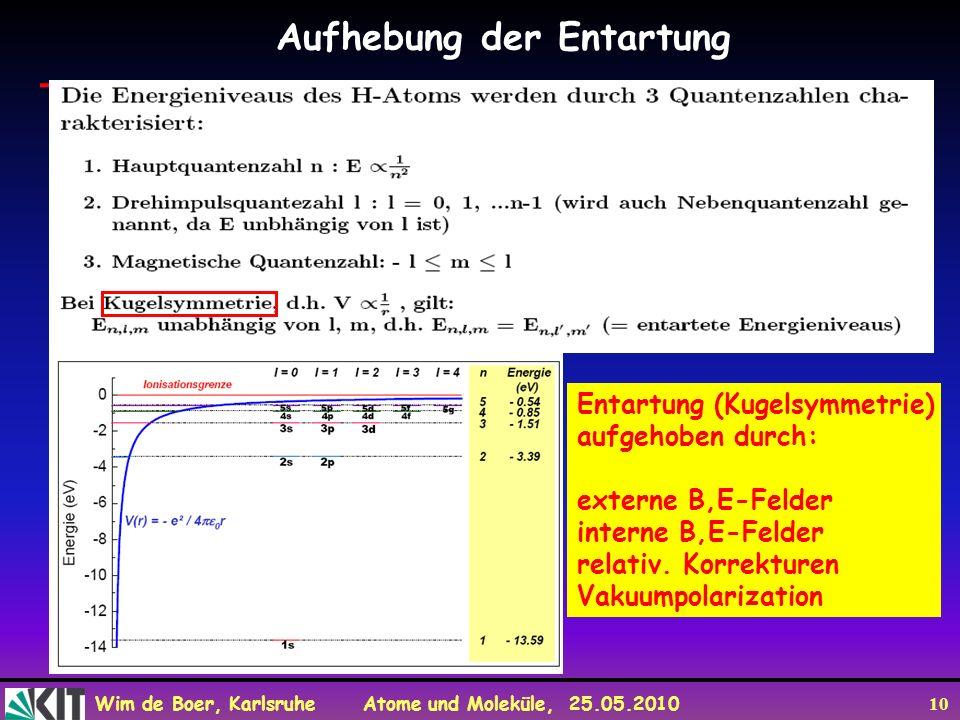 Wim de Boer, Karlsruhe Atome und Moleküle, 25.05.2010 10 Aufhebung der Entartung Entartung (Kugelsymmetrie) aufgehoben durch: externe B,E-Felder inter