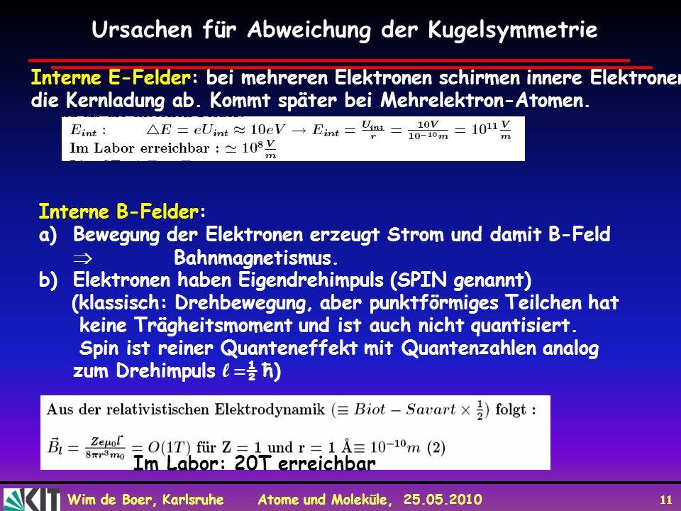 Wim de Boer, Karlsruhe Atome und Moleküle, 25.05.2010 11 Ursachen für Abweichung der Kugelsymmetrie Interne E-Felder: bei mehreren Elektronen schirmen