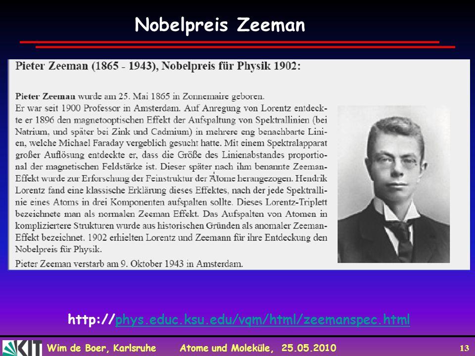 Wim de Boer, Karlsruhe Atome und Moleküle, 25.05.2010 13 Nobelpreis Zeeman http://phys.educ.ksu.edu/vqm/html/zeemanspec.htmlphys.educ.ksu.edu/vqm/html