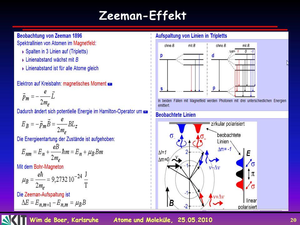 Wim de Boer, Karlsruhe Atome und Moleküle, 25.05.2010 20 Zeeman-Effekt