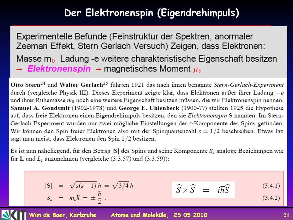 Wim de Boer, Karlsruhe Atome und Moleküle, 25.05.2010 21 Der Elektronenspin (Eigendrehimpuls)