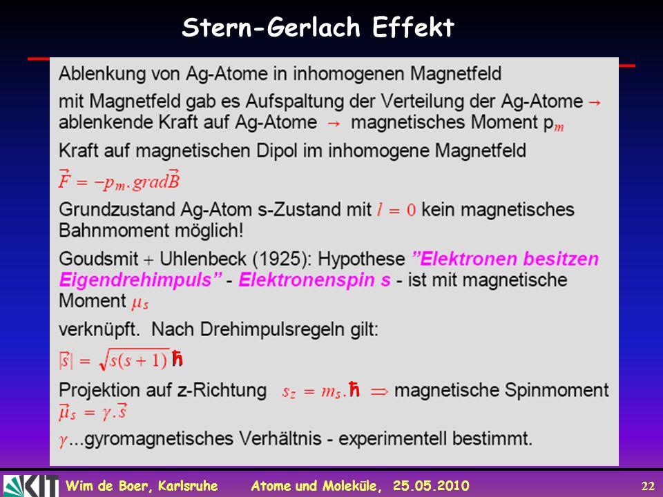 Wim de Boer, Karlsruhe Atome und Moleküle, 25.05.2010 22 Stern-Gerlach Effekt ħ ħ