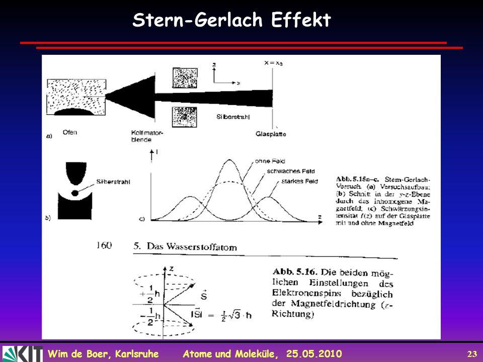 Wim de Boer, Karlsruhe Atome und Moleküle, 25.05.2010 23 Stern-Gerlach Effekt