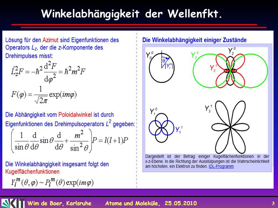 Wim de Boer, Karlsruhe Atome und Moleküle, 25.05.2010 3 Winkelabhängigkeit der Wellenfkt.