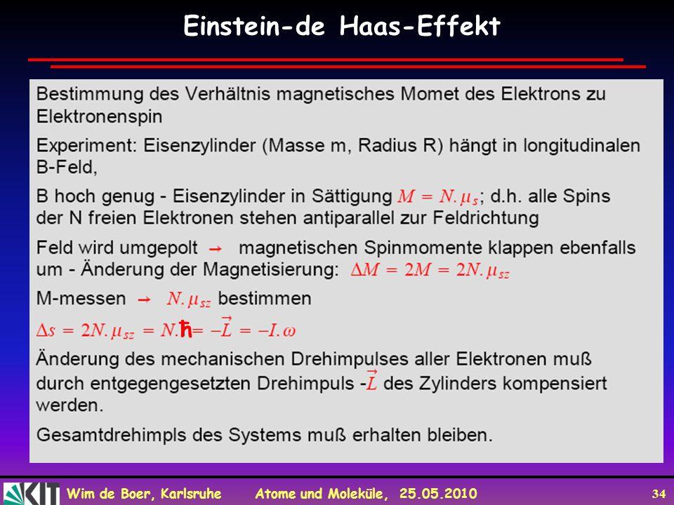 Wim de Boer, Karlsruhe Atome und Moleküle, 25.05.2010 34 Einstein-de Haas-Effekt ħ