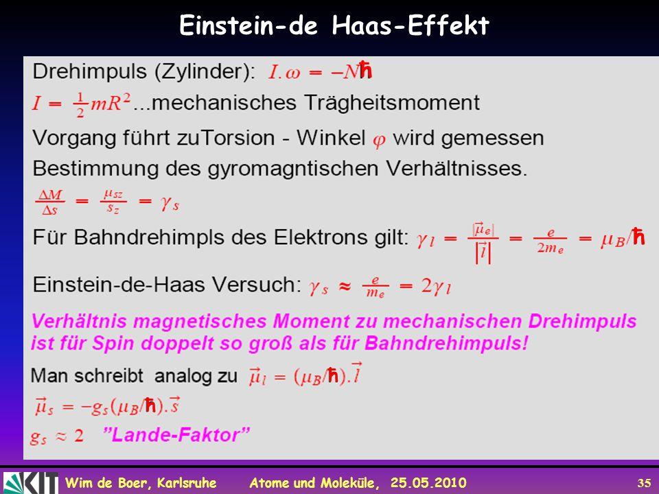 Wim de Boer, Karlsruhe Atome und Moleküle, 25.05.2010 35 Einstein-de Haas-Effekt ħ ħ ħ ħ