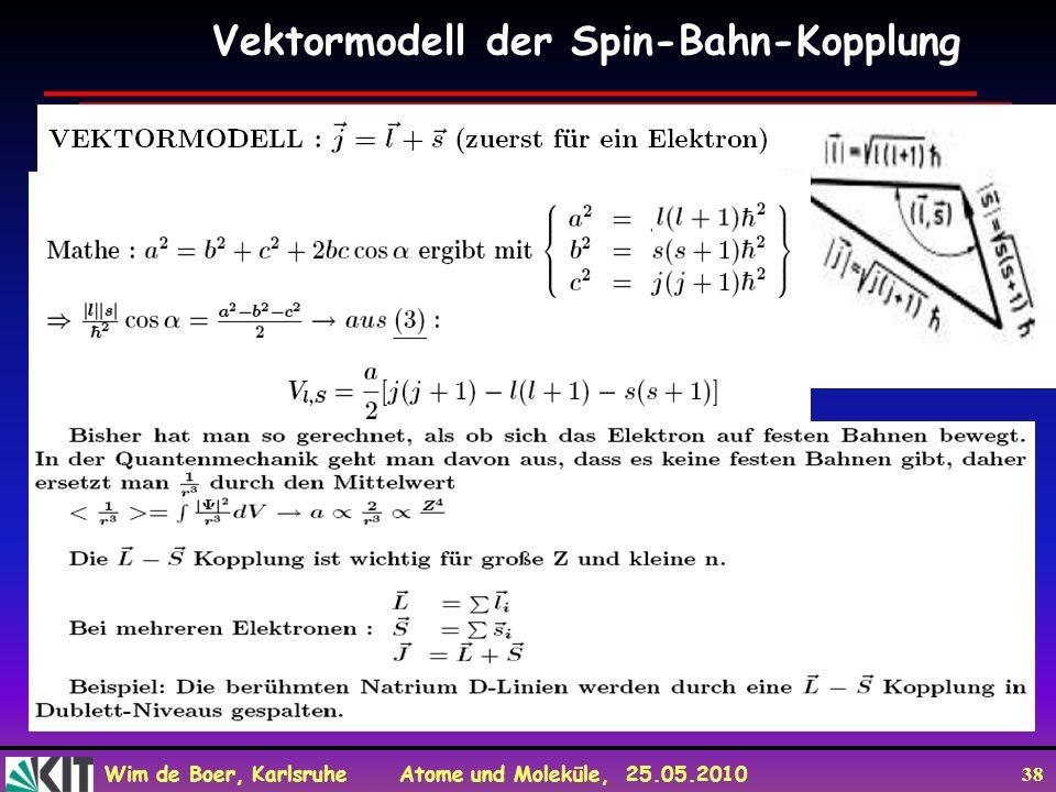 Wim de Boer, Karlsruhe Atome und Moleküle, 25.05.2010 38 Vektormodell der Spin-Bahn-Kopplung