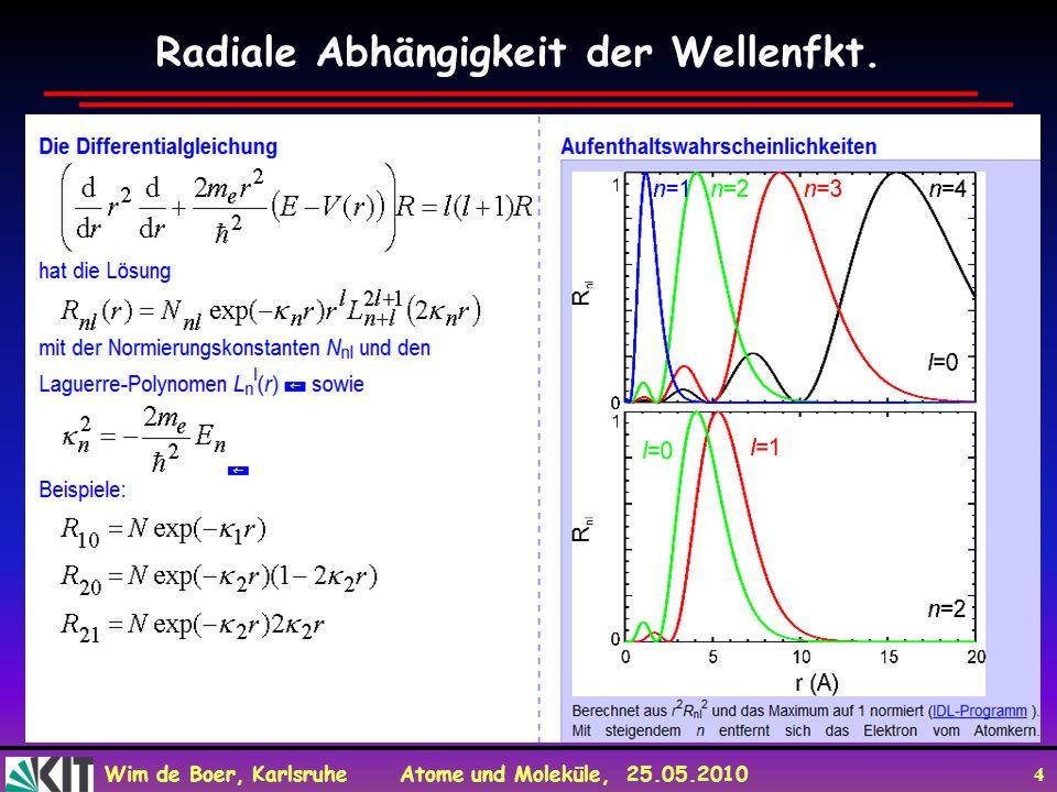 Wim de Boer, Karlsruhe Atome und Moleküle, 25.05.2010 4 Radiale Abhängigkeit der Wellenfkt.