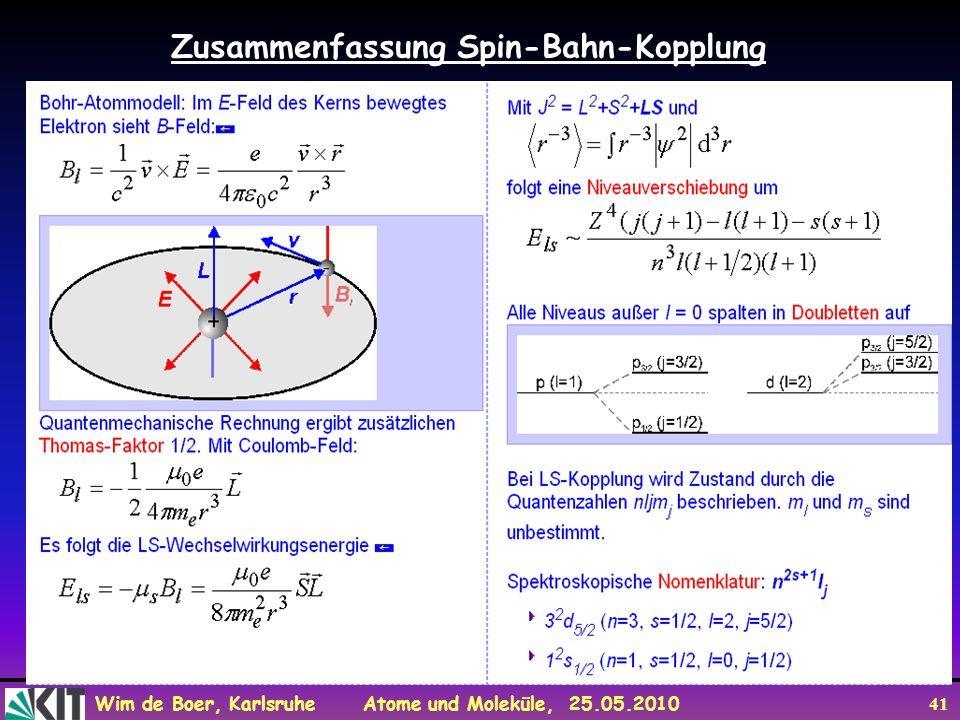 Wim de Boer, Karlsruhe Atome und Moleküle, 25.05.2010 41 Zusammenfassung Spin-Bahn-Kopplung
