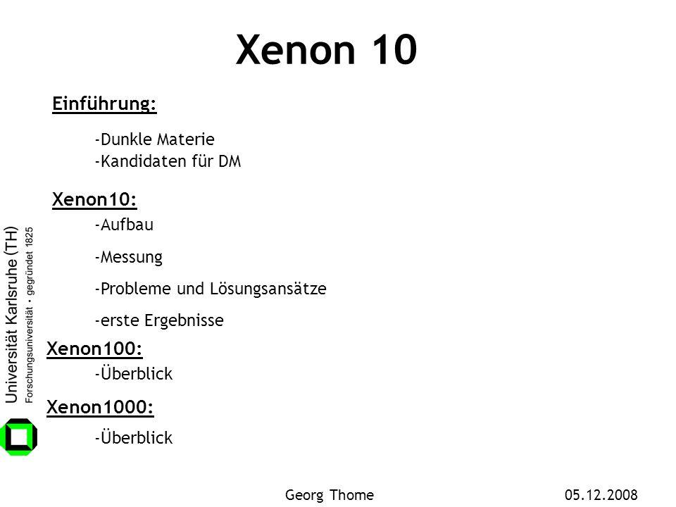 Xenon 10 Einführung: -Dunkle Materie Xenon10: -Aufbau -Messung -Probleme und Lösungsansätze -Kandidaten für DM -erste Ergebnisse Xenon100: -Überblick
