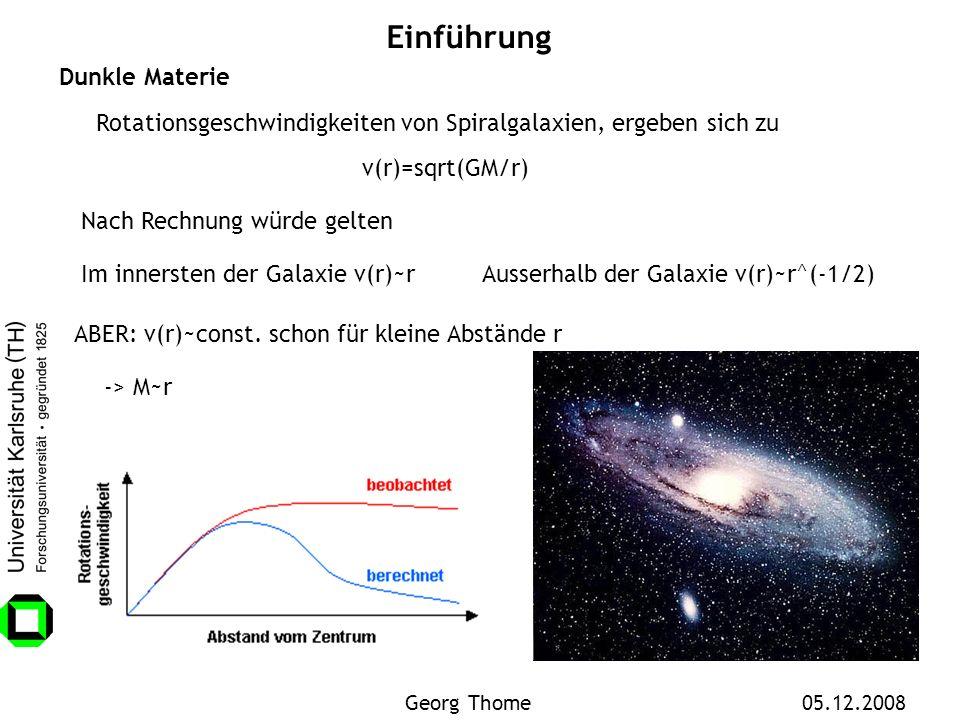 Einführung Dunkle Materie Rotationsgeschwindigkeiten von Spiralgalaxien, ergeben sich zu Im innersten der Galaxie v(r)~r Nach Rechnung würde gelten Au