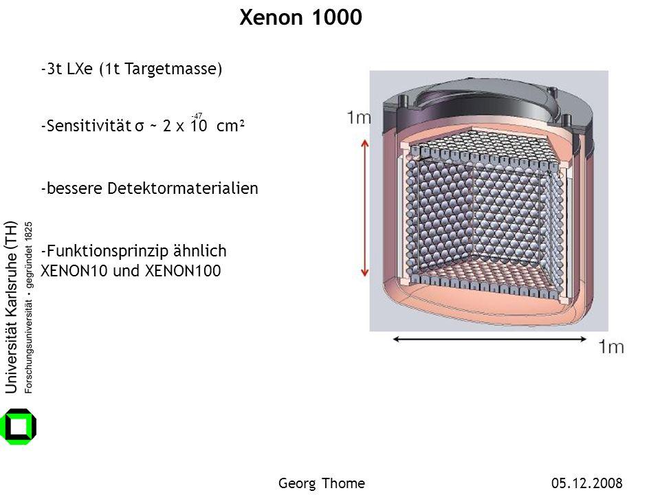 Xenon 1000 -3t LXe (1t Targetmasse) -Sensitivität σ ~ 2 x 10 cm² -47 -bessere Detektormaterialien -Funktionsprinzip ähnlich XENON10 und XENON100 Georg