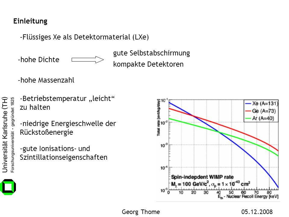 -Flüssiges Xe als Detektormaterial (LXe) -hohe Dichte gute Selbstabschirmung kompakte Detektoren Einleitung -hohe Massenzahl -niedrige Energieschwelle