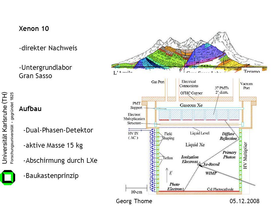 Xenon 10 Aufbau -Abschirmung durch LXe -Dual-Phasen-Detektor -aktive Masse 15 kg -Untergrundlabor Gran Sasso -Baukastenprinzip -direkter Nachweis Geor