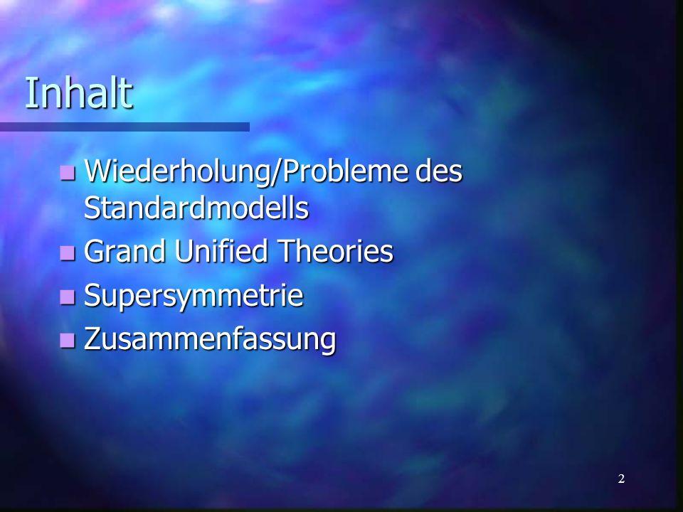 3 Inhalt Wiederholung/Probleme des Standardmodells Wiederholung/Probleme des Standardmodells Fermionen Fermionen Wechselwirkungen Wechselwirkungen Sonstige Probleme Sonstige Probleme Grand Unified Theories Grand Unified Theories Supersymmetrie Supersymmetrie Zusammenfassung Zusammenfassung