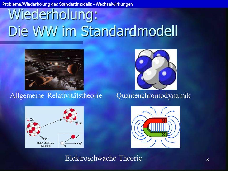 7 Probleme: Die WW im Standardmodell Der Gültigkeitsbereich der Theorien ist beschränkt (Planck-Ära) Der Gültigkeitsbereich der Theorien ist beschränkt (Planck-Ära) Warum gibt es 4 Kräfte.
