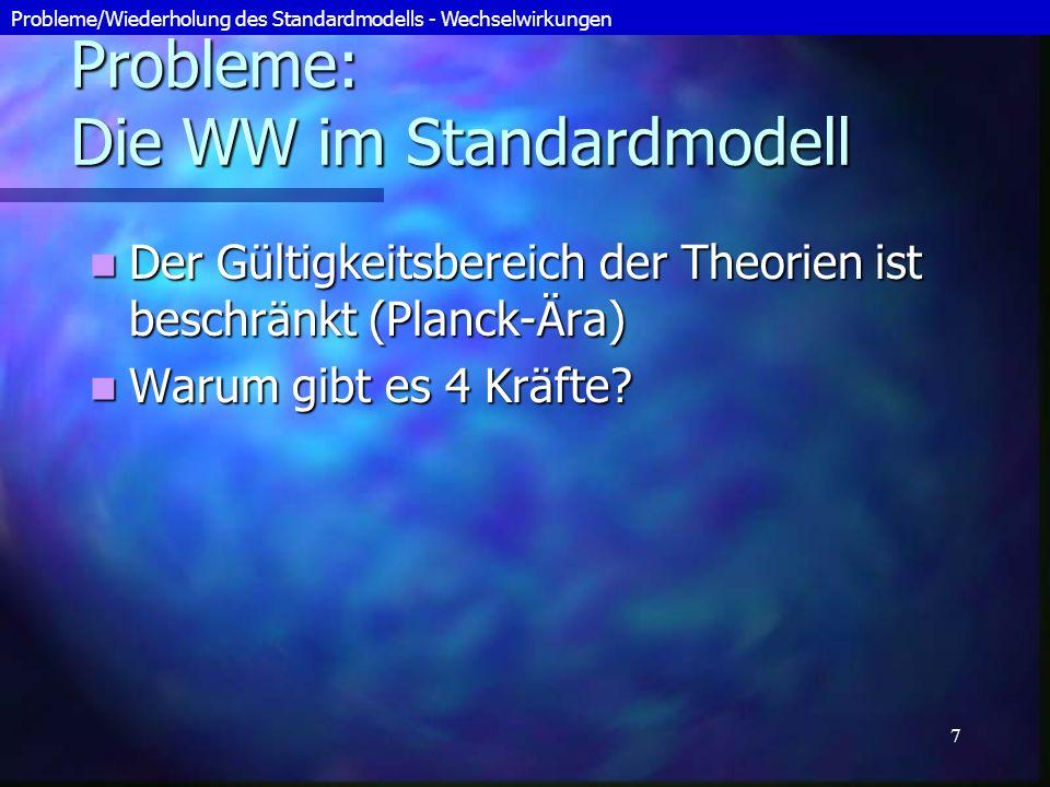 8 Sonstige Probleme / Ungelöste Fragen des SM Mindestens 18 Parameter im Standardmodell sind experimentell zu bestimmen Mindestens 18 Parameter im Standardmodell sind experimentell zu bestimmen (z.B.