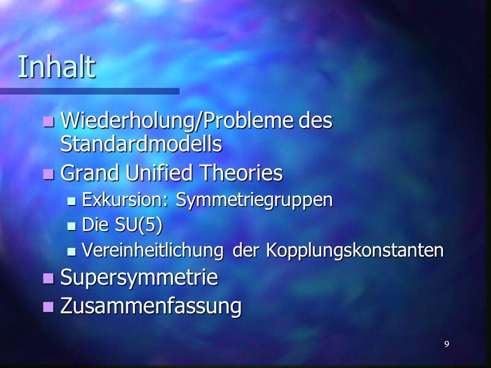 20 Die Kopplungskonstanten im MSSM => Protonenzerfall stimmt mit Theorie überein Supersymmetrie - Konsequenzen