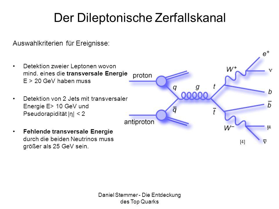 Daniel Stemmer - Die Entdeckung des Top Quarks Der Dileptonische Zerfallskanal Detektion zweier Leptonen wovon mind. eines die transversale Energie E