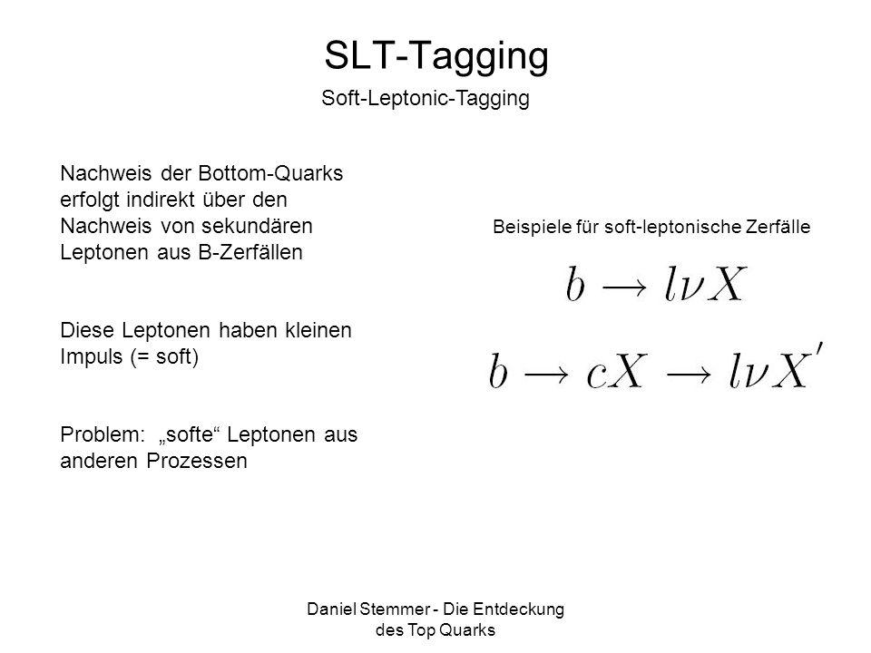 Daniel Stemmer - Die Entdeckung des Top Quarks SLT-Tagging Soft-Leptonic-Tagging Nachweis der Bottom-Quarks erfolgt indirekt über den Nachweis von sek