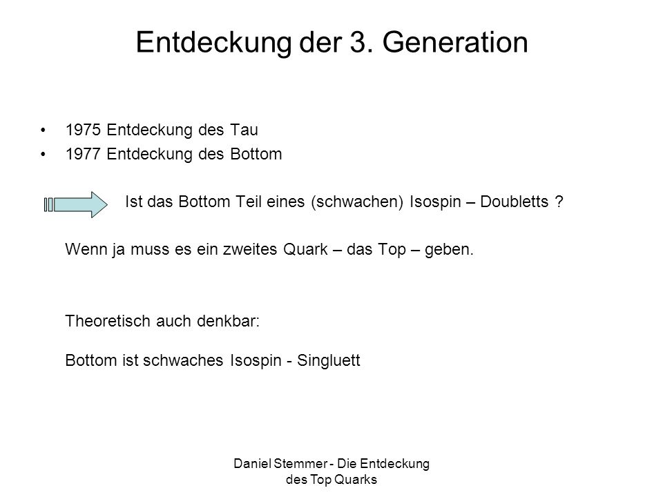 Daniel Stemmer - Die Entdeckung des Top Quarks Entdeckung der 3. Generation 1975 Entdeckung des Tau 1977 Entdeckung des Bottom Ist das Bottom Teil ein