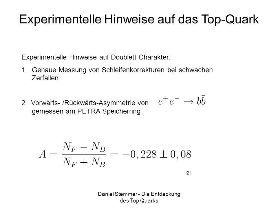 Daniel Stemmer - Die Entdeckung des Top Quarks Experimentelle Hinweise auf das Top-Quark Experimentelle Hinweise auf Doublett Charakter: 1.Genaue Mess