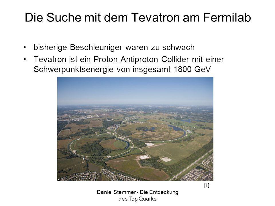 Daniel Stemmer - Die Entdeckung des Top Quarks Die Suche mit dem Tevatron am Fermilab bisherige Beschleuniger waren zu schwach Tevatron ist ein Proton