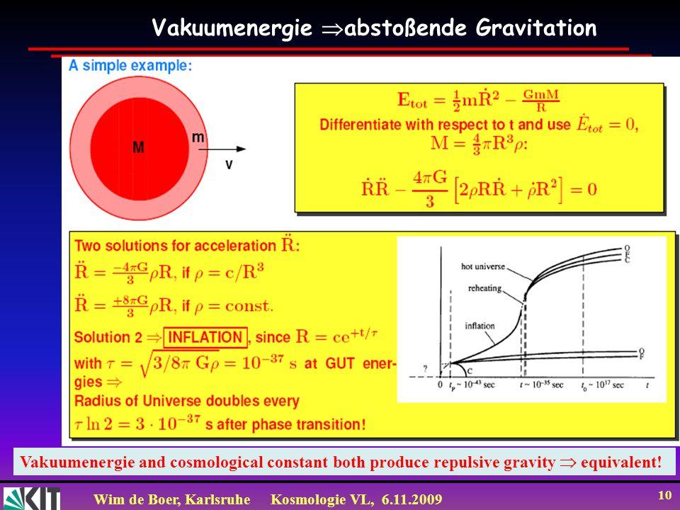 Wim de Boer, KarlsruheKosmologie VL, 6.11.2009 10 Vakuumenergie abstoßende Gravitation Vakuumenergie and cosmological constant both produce repulsive gravity equivalent!