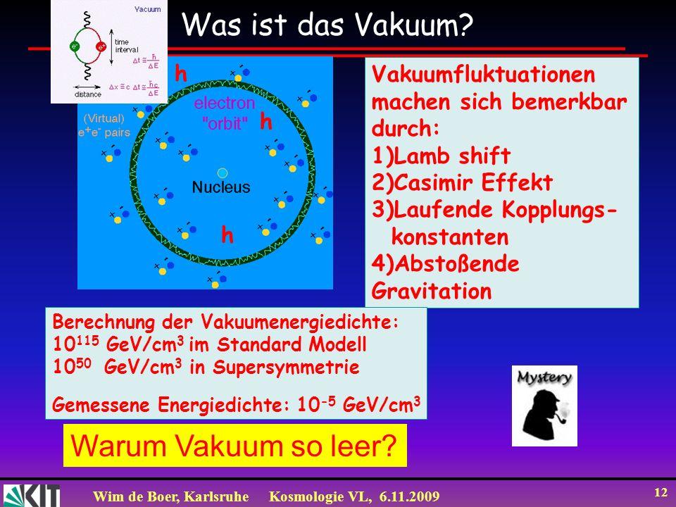 Wim de Boer, KarlsruheKosmologie VL, 6.11.2009 12 Warum Vakuum so leer.