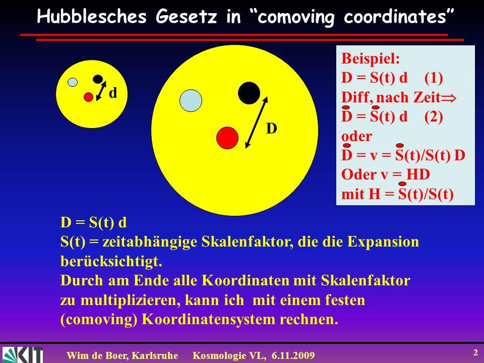 Wim de Boer, KarlsruheKosmologie VL, 6.11.2009 13 Combine CMB (später mehr) with SNIa data SNIa sensitive to acceleration, i.e.