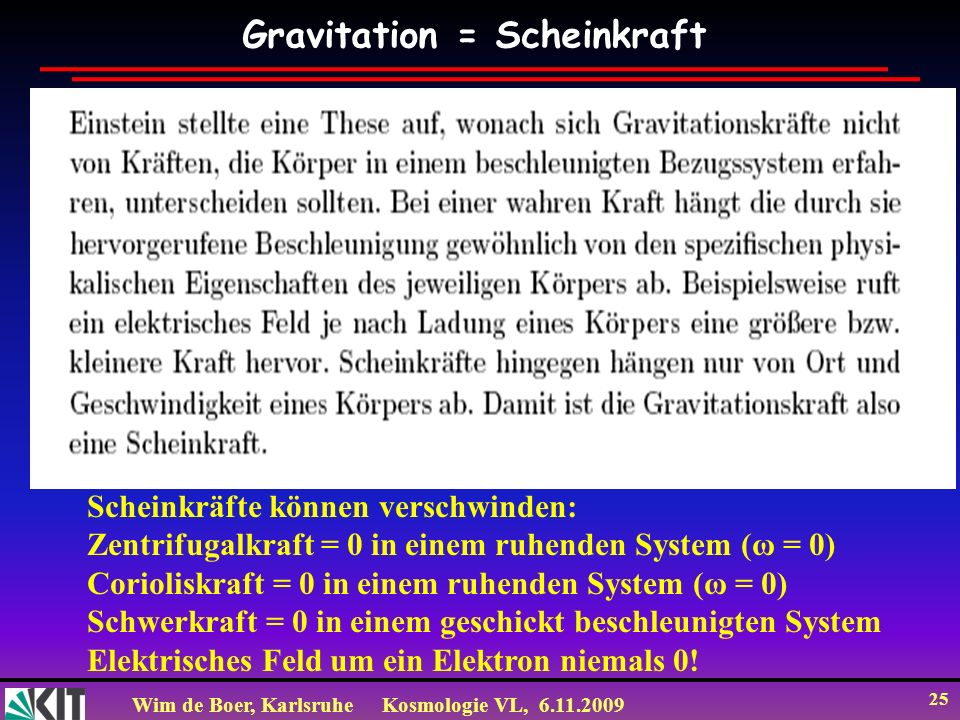 Wim de Boer, KarlsruheKosmologie VL, 6.11.2009 25 Gravitation = Scheinkraft Scheinkräfte können verschwinden: Zentrifugalkraft = 0 in einem ruhenden System (ω = 0) Corioliskraft = 0 in einem ruhenden System (ω = 0) Schwerkraft = 0 in einem geschickt beschleunigten System Elektrisches Feld um ein Elektron niemals 0!