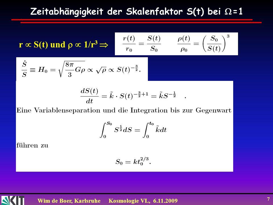 Wim de Boer, KarlsruheKosmologie VL, 6.11.2009 7 Zeitabhängigkeit der Skalenfaktor S(t) bei =1 r S(t) und 1/r 3