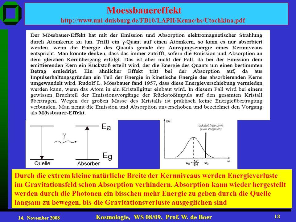 14. November 2008 Kosmologie, WS 08/09, Prof. W. de Boer 18 http://www.uni-duisburg.de/FB10/LAPH/Keune/hs/Utochkina.pdf Moessbauereffekt Durch die ext