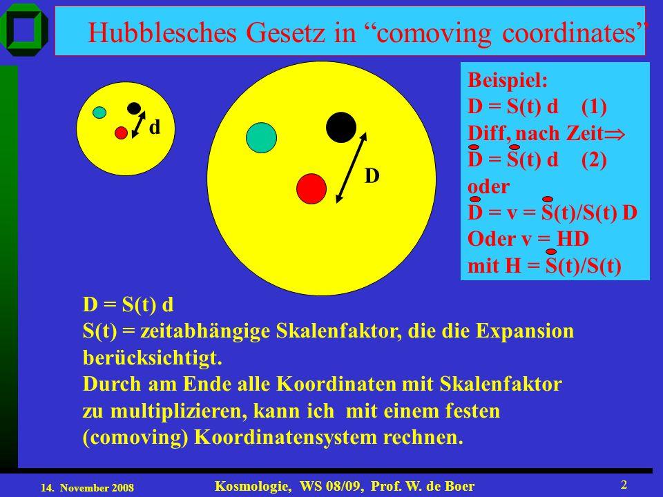 14. November 2008 Kosmologie, WS 08/09, Prof. W. de Boer 2 Hubblesches Gesetz in comoving coordinates d D D = S(t) d S(t) = zeitabhängige Skalenfaktor