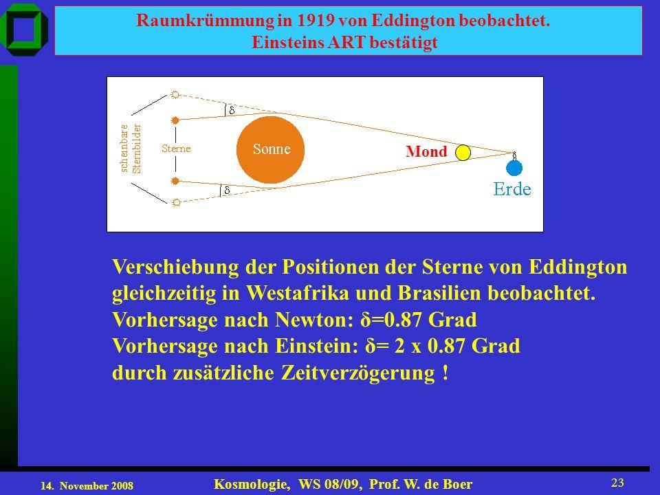 14. November 2008 Kosmologie, WS 08/09, Prof. W. de Boer 23 Raumkrümmung in 1919 von Eddington beobachtet. Einsteins ART bestätigt Verschiebung der Po