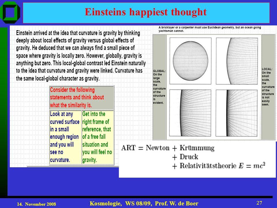 14. November 2008 Kosmologie, WS 08/09, Prof. W. de Boer 27 Einsteins happiest thought