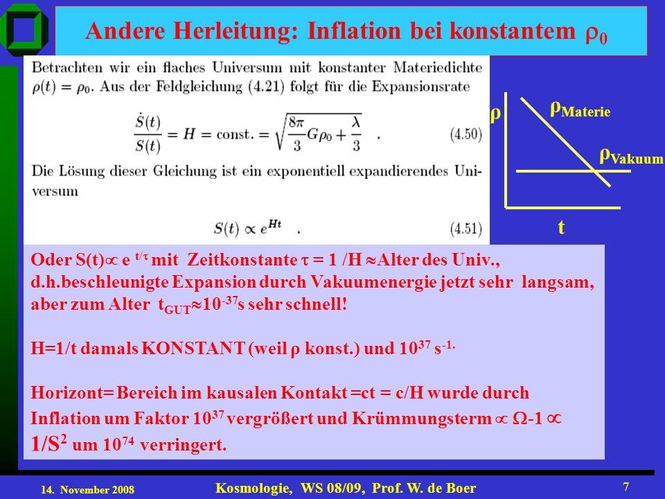 14. November 2008 Kosmologie, WS 08/09, Prof. W. de Boer 7 Andere Herleitung: Inflation bei konstantem 0 Oder S(t) e t/ mit Zeitkonstante = 1 /H Alter